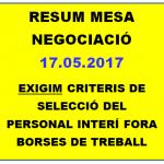 RESUM MESA NEGOCIACIÓ 17.05.2018  COM ES SELECCIONA EL PERSONAL QUE NO FORMA PART DE CAP BORSA DE TREBALL?