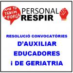 RESOLUCIÓ CONVOCATÒRIA BORSES AUXILIAR EDUCADORES I GERIATRIA